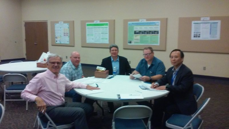 Judges (Dr. Colin Dennis, Dr. Fur-Chi Chen, Mickey Miller, and Tyler Greeson) and IFT staff Representative Mike McCarthy